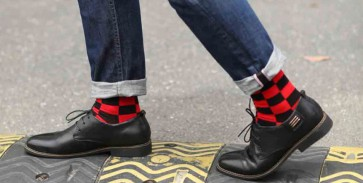 Ponožky - červeno čierne