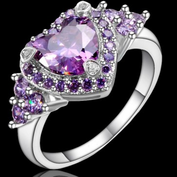 Prsteň - fialové srdiečko