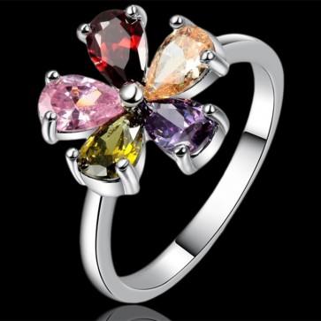 Prsteň - farebný kvietoček