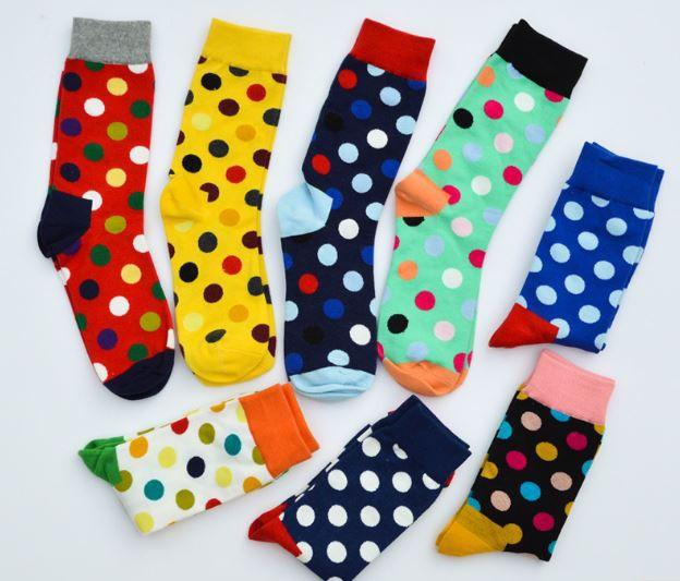 Ponožky - tmavomodré bodkované