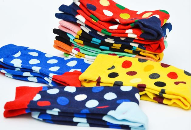 Ponožky - červeno modré bodkované