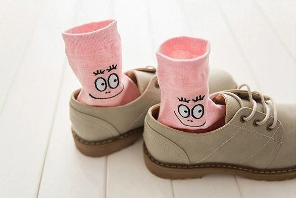 Ponožky - ružové smajlíkové