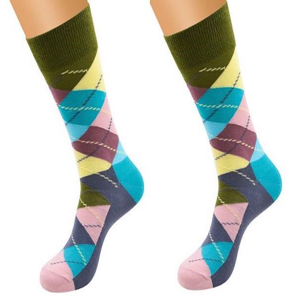 Ponožky - kárované zeleno modré