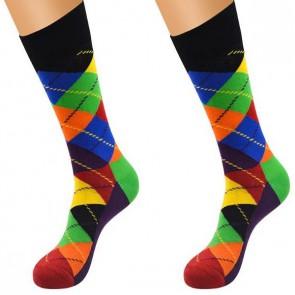 Ponožky - kárované modro zelené