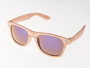 Slnečné okuliare WAYFARER - modré zrkadlovky (imitácia dreva)