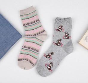 Ponožky - zajačiky a ružové pásiky